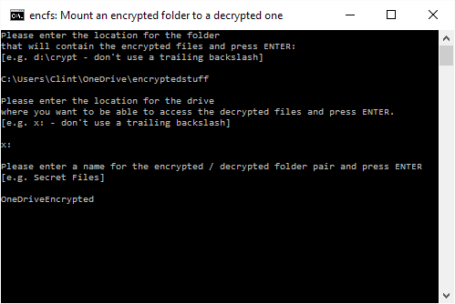 Name the encrypted folder, e.g. 'OneDriveEncrypted'. This helps you tell them apart if you create more than one.