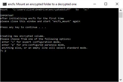 Enter 'p' to select strong encryption.