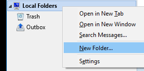 Right-click 'Local Folders' and create some new local folders.